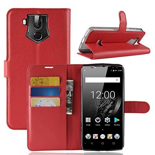 LMFULM® Hülle für Oukitel K10 (6,0 Zoll) PU Leder Magnet Brieftasche Lederhülle Litschi Muster Standfunktion Ledertasche Flip Cover für Oukitel K10 Rot