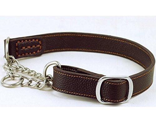 Strimm Hund Leder Kettenhalsband Kettenwürger Zughalsband mit Karabiner aus Edelstahl für Mittel Große Hund