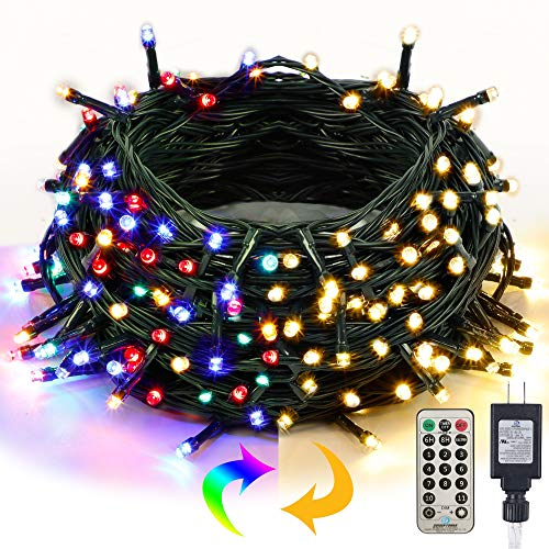 Twinkle Star Christmas String Lights, 66ft 200 LED Color Changing Tree Light Plug in 11 Modes Functions Warm White & Multicolor with Remote Timer, Connectable for Outdoor Indoor Xmas Party Decorations