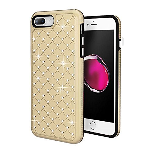 iPhone 6 Plus/6s Plus/7 Plus/8 Plus Case, Mybat Full Star Dual Layer [Shock Absorbing] Protection Hybrid PC/TPU Rubber Case Cover With Diamond For Apple iPhone 6 Plus/6s Plus/7 Plus/8 Plus, Gold/Black