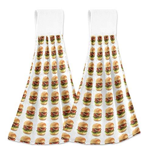 MNSRUU Toalla de mano para hamburguesas, decoración para el hogar, 2 unidades, súper suave, absorbente, para casa, baño, casa de granja o casa, mesa, 12 x 17 pulgadas