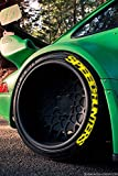 """PS SPEEDHUNTERS - Set di 4 adesivi per pneumatici da 14""""-22"""", colore giallo"""