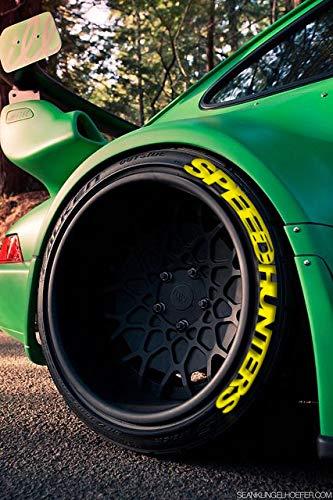 PS SPEEDHUNTERS GELB permanente Reifenbeschriftung Reifen Hochwertige Aufkleber 4X Tire Tyre Stickers Set 14