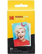 Kodak Papel Fotográfico Zink Premium de 2X3 Pulgadas (20 Hojas) Compatible con Kodak Smile, Kodak Step, Printomatic.