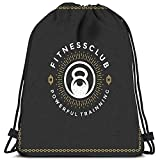 Mochila con cordón Bolsas Fitness Gimnasio Insignia Emblema Kettlebell Silhouette Stamp Bolsas de Hombro portátiles Travel Sport Gym Bag