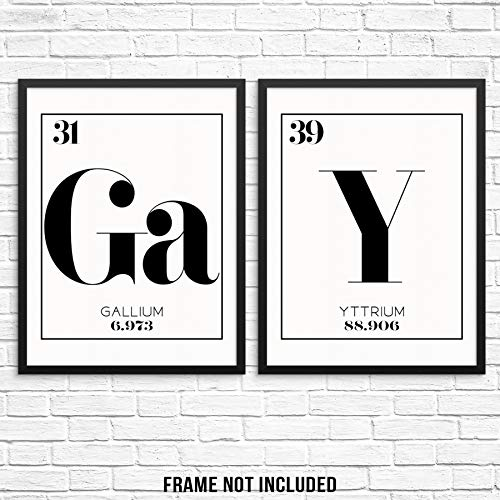 Periodic Table of Elements Wall Art Print Gay Word Poster Chemistry Wall Poster Set 11'x14' UNFRAMED Science Geek Artwork for Living Room Bedroom Home Office