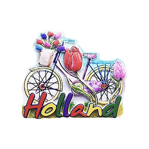 Holland - Imán para nevera de bicicleta 3D para regalo de recuerdo, hecho a mano para decoración del hogar y la cocina, colección de imanes de nevera Holland