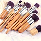 11pcs Swee Bamboo Makeup Brushes Set Cosmetic Face Foundation Brush Powder Blusher Eyeshadow Beauty Blending Tool Kit With Cloth Bag