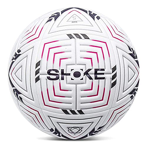 SHOKE Soccer Ball Size 5 Training Football Official Match Football Balls for Adult Game Ball Soccer Ball for Teens Kids with Rosy-White Stripe