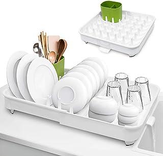 Kitsure 水切りかご 食器水切り 食器置き 水が流れる キッチン 水切り ラック 台所 食器乾燥