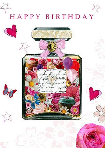 PopShots Studios Geburtstag Karte Swarovski Elements Grußkarte Luxus Parfüm 17x12cm