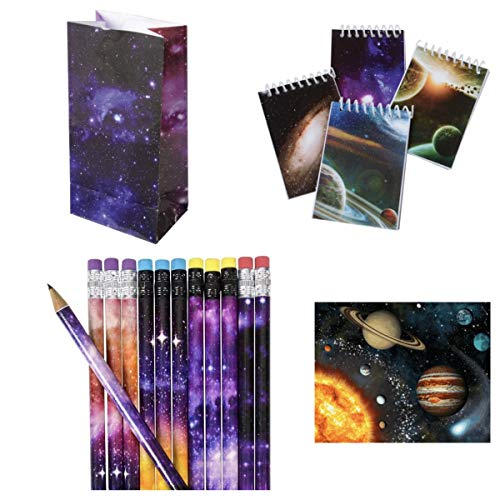 Just4fun - Cool Galaxy - Outer Space Party Favors for 12, 24 or 36 - Pencils - Mini NOTEBOOKS - Goody Bags & Stickers - Science - Planet Solar System Classroom Teacher Rewards Science (48 pc)