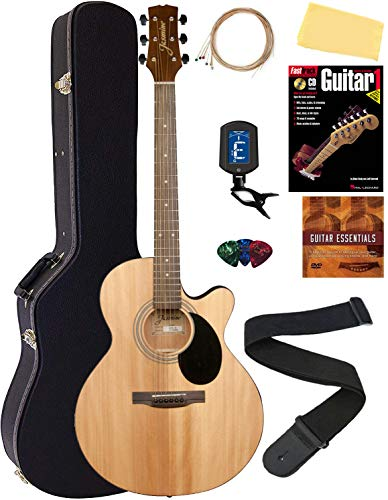 Jasmine S34C NEX Cutaway Acoustic Guitar - Natural Bundle with Hard Case, Strings, Tuner, Strap, Picks, Instructional Book, DVD, and Austin Bazaar Polishing Cloth