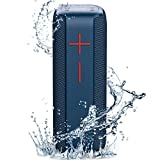 Portable Bluetooth Speakers,SANAG Wireless Outdoor Speakers TWS Dual Pairing with Enhanced Bass 360 HD Surround Stereo Sound,Waterproof Speakers with SD Card Slot for Riding, Hiking,Party(Blue)