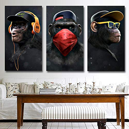 LELME 3 Affen Tierbild Leinwand Wandkunst Poster und Drucke Gorilla Leinwand Gemälde Wohnzimmer Home Decor Wandbild 60x80cm (23,6