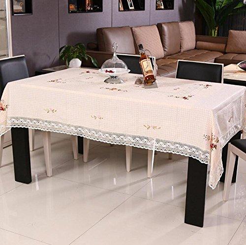 Nappes brodées faites à la main avec ruban pour table basse - Différentes tailles - Housse anti-poussière beige - 145 x 215 cm