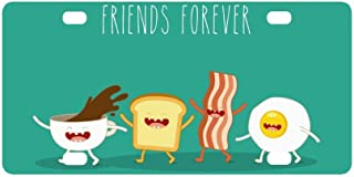 INTERESTPRINT Funny Breakfast Food Friends Forever Egg Bacon Toast Metal License Plate for Car, Metal Auto Tag for Woman Man, 12 x 6 Inch