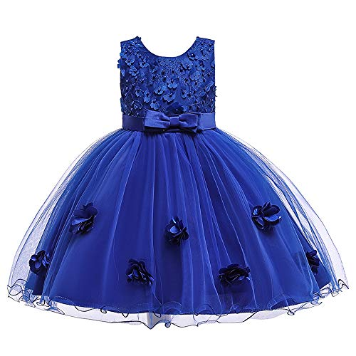 Cichic Kinder Kleider Mädchen Prinzessin Kleid Geburtstags Hochzeits Partei Tüll Kleid Mädchen Formale Kleider Pageant Brautjungfer Prom Kleid (5-6Jahre, Blau-03)