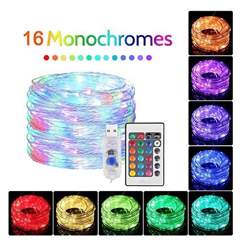 KELUNIS 12M 120 Led Christmas String Lights, 16 Color Rubber Copper Wire Light, 2 Lighting Modes, for Indoor Outdoor, Garden, Party, Wedding Decorations and More