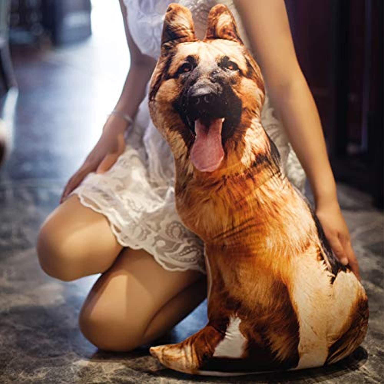 BAONZEN Creative simulation 3d dog head pillow doll doll plush toy Meng spoof doll, shepherd dog, 45cm