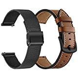 TRUMiRR Watch Band Sets for Fossil Men's Gen 5 Carlyle/Garrett/Julianna, 22mm Mesh Stainless Steel Watchband + Genuine Leather Strap for Fossil Men's Gen 4 Explorist HR/Gen 5E 44mm/Collider HR 42MM