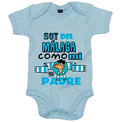 Body bebé soy del Málaga como mi padre Jorge Crespo Cano - Celeste, 6-12 meses