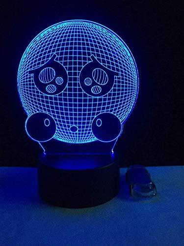 Ilusión óptica 3d lámpara de dormitorio luz de Emoticonos,Lámpara de escultura art deco Regalos creativos para niños y niñas - Con control remoto
