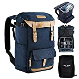 K&F Concept® Waterproof Camera Backpack with Rain Cover, Large Capacity Rucksack DSLR Travel