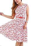 YMING Women's Rockabilly 50s Vintage Dress Floral Print Cocktail Swing Dress Wit Belt Red S