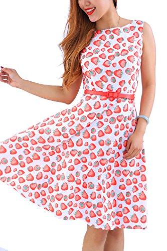 YMING Sommerkleid Ärmellos Swing Kleid Ballkleider Tanzkleid Hochzeitgast Kleid Übergröße Rot Erdbeeren XXXL/DE 48-50