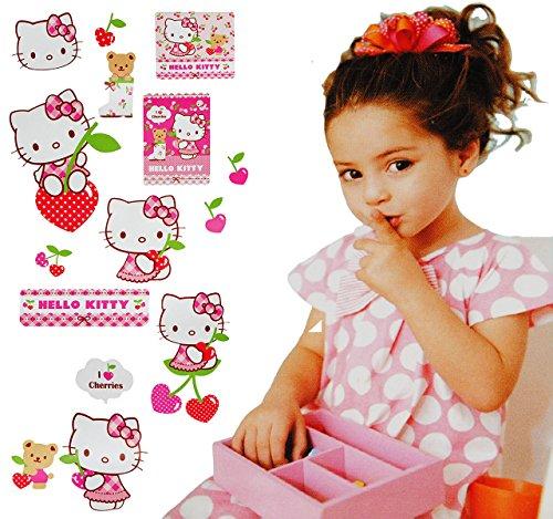 alles-meine.de GmbH 15 Stück: Wandsticker -  Hello Kitty  - selbstklebend + wiederverwendbar - Aufkleber für Kinderzimmer - Wandtattoo / Sticker Kinder - Mädchen / Katzen - Kin..