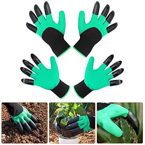 Garden Genie Guantes con garras 2 pares de guantes de jardinería impermeables con garras para excavar plantación, guantes resistentes a los cortes – Guantes de jardín para mujer