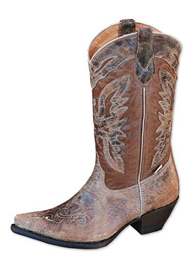 STARS & STRIPES Damen-Westernstiefel WBL-24 Cowboystiefel BZW. Cowboy Boots & Bikerstiefel Westernstiefel Stiefeletten für Frauen BZW. Damen (41) Braun