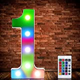 LED Letters Numbers Marquee Lights 26 Alphabet 0-9 Arabic Numerals Decorative Lamps with Wireless Remote Control for Events Wedding Party Birthday Home Bar (Colorful Number 1)