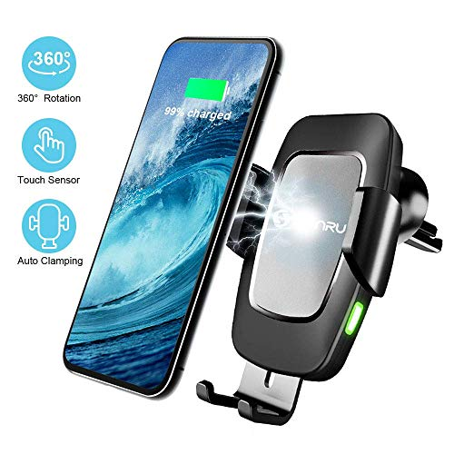 Wireless Charger Auto mit QC3.0 Adapter, SONRU Noten-Sensor Automatic Clamping Autohalterung Qi Induktion Ladegerät 7,5W/10W Fast Charging für iPhone Max XS/X/8/8 Plus, Galaxy S9/S8/S7/Note 8, Schwarz