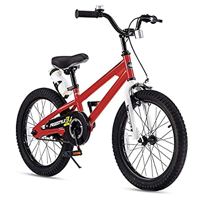 RoyalBaby Kids Bike Boys Girls Freestyle BMX Bicycle With Kickstand Gifts for Children Bikes 18 Inch Red