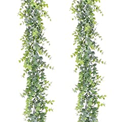 2 Pack Faux eucalyptus garland , Each pack with 134 Pcs Fake eucalyptus leaves, total 268 Pcs Eucalyptus Leaves,This eucalyptus garland has many branches,Looks very realistic and Three-dimensional. Size:Each Artificial eucalyptus Leaves Garland is ap...