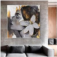 Whhomecp-アートパネル 花女性ポートレートキャンバス絵画壁アートゴールデンガールポスターとプリントLivig部屋の装飾のための軽い豪華な壁の写真27.6x27.6in(70x70cm)x1pcsフレームなし