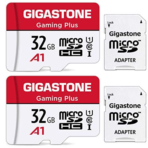 Gigastone Micro SD 32 GB, Gaming Plus, Set da 2, Per Nintendo Switch Gopro Fotocamere Videocamera Tablet, Velocità Fino a 90/20 MB/Sec (R/W) + Adattatore Scheda SD, UHS-I A1 U3 V30 MicroSDXC