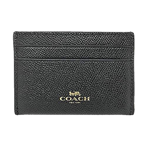 Coach Crossgrain Leather Flat Card Case Black F57312, Small
