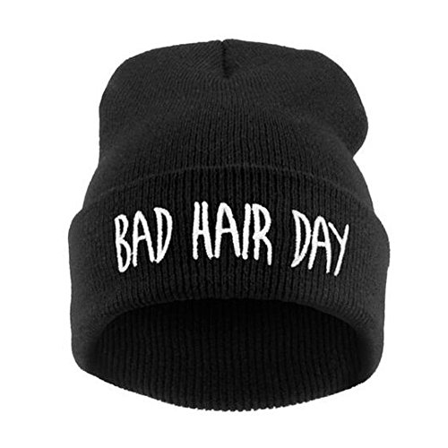 Black Letters Embroidery Slouchy Skull Winter Beanie Hat for Women Men