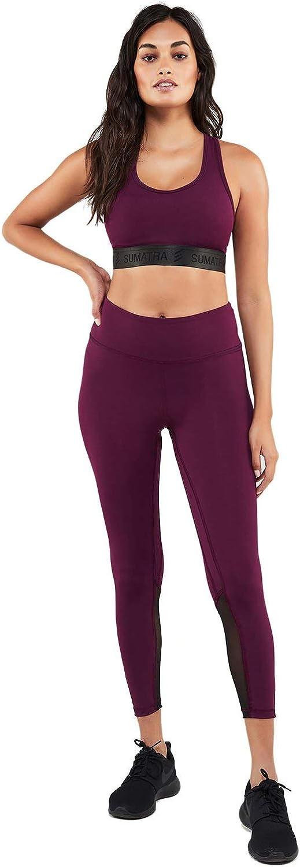 Sumatra Active Modern Warrior Women Leggings - Yoga Athletic Tummy Control Pants (XS, Eggplant)