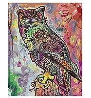 数字で描く動物の手作りギフトアクリル絵の具数字で描くDIY写真キャンバスに描くフクロウの家の装飾40×50cm(フレームなし)