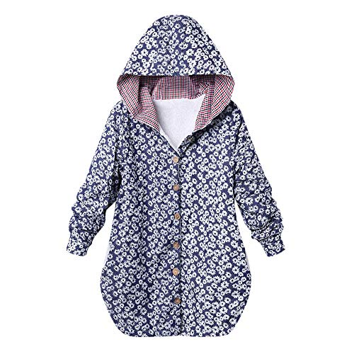 Cheapest Prices! Dacawin Winter Sale-Womens Vintage Floral Plaid Print Hooded Pockets Winter Warm Ov...