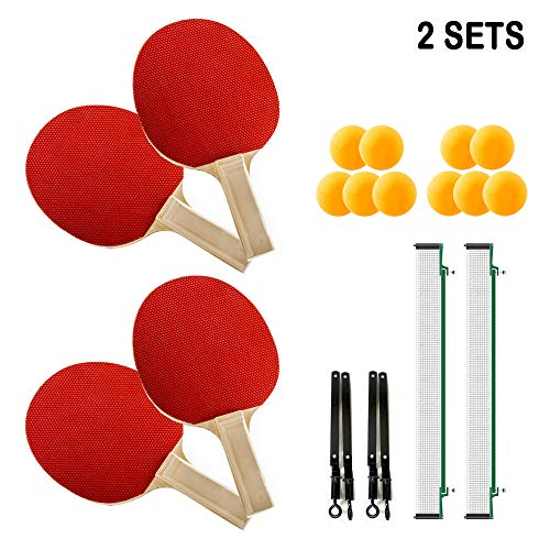 Review None Branded Complete Table Tennis Set 4 Ping Pong Paddles 10 Balls 2 Nets 4 Players Portable