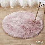 Happymore runder Fellteppich, zottelig, flauschig, Teppiche für Babyzimmer, Teenager, Mädchen, Zimmer, Plüschteppich für Kinderzimmer, Zuhause, Zimmer, Bodendekoration, nicht null, rose, 50 cm