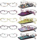 VEVESMUNDO Gafas de Lectura Mujer Hombre Portatiles Flores Leer Graduadas Vista Presbicia con Bolsillo 1.0 1.25 1.5 1.75 2.0 2.25 2.5 2.75 3.0 3.5 4.0 (3.5, 5 Gafas Set)