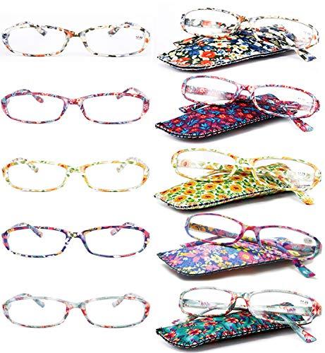 VEVESMUNDO Lesebrille Damen Herren Modern Federscharnier Blumen Lesehilfe Sehhilfe Brille Leicht Vintage mit Brillentasche 1,0 1,25 1,5 1,75 2,0 2,25 2,5 2,75 3,0 3,5 4,0