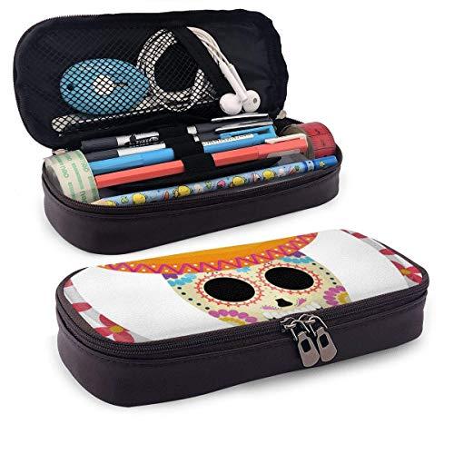 Pu Leather Pencil Case Mexikanische Totenkopfmaske mit Mariachi Hut Leder 3D Nano Printed Pencil Case Pouch Niedliche Pen Pencil Case Box