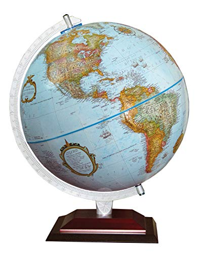 Replogle Aragon 12' Desktop World Globe, Raised Relief, Up-to-Date Cartography, Made in USA (Blue Ocean)